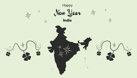 Happy New Year illustration theme with map of India Illustration