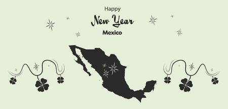 Happy New Year illustration theme with map of Mexico Illustration