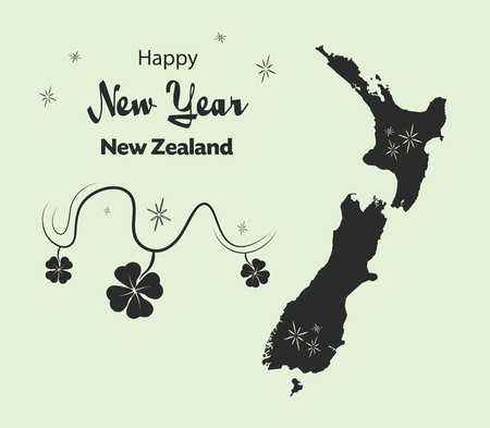 Happy New Year illustration theme with map of New Zealand