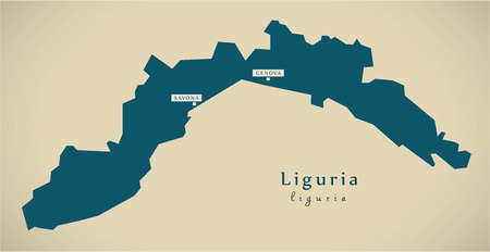 liguria: Modern Map - Liguria IT Italy