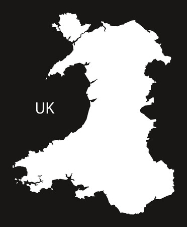 black and white: Wales Map black white