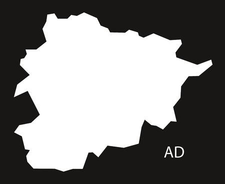 black and white: Andorra Map black white Illustration