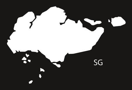 black and white: Singapore Map black white