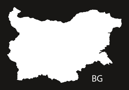 black and white: Bulgaria Map black white Illustration