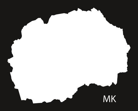 Mazedonien Karte schwarz weiß