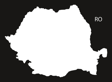 black and white: Romania Map black white