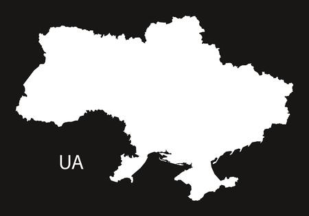 black and white: Ukraine Map black white