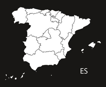 Mapa España Provincias Blanco.Espana Con Las Provincias Mapa Negro Blanco