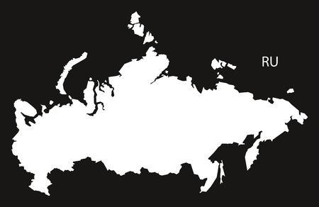 black and white: Russia Map black white Illustration