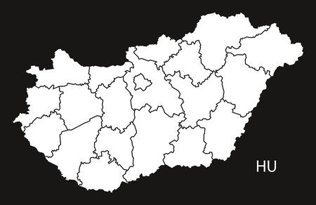 counties: Hungary counties Map black white
