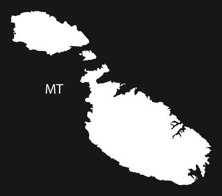 malta map: Malta Map black white