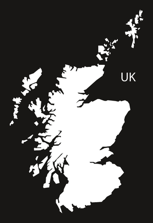 black and white: Scotland Map black white Illustration
