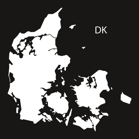 black and white: Denmark Map black white
