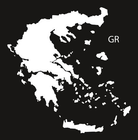black and white: Greece Map black white Illustration