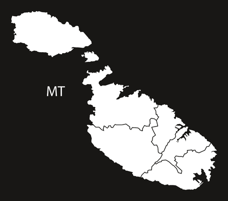 malta: Malta districts Map black white