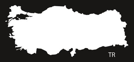 black and white: Turkey Map black white Illustration