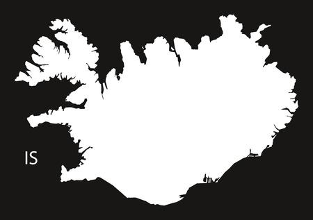 black and white: Iceland Map black white