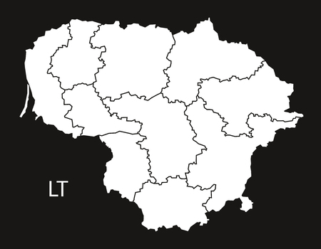 counties: Lithuania counties Map black white Illustration