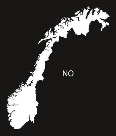 black and white: Norway Map black white
