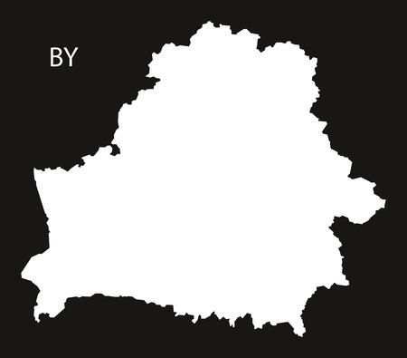 black and white: Belarus Map black white