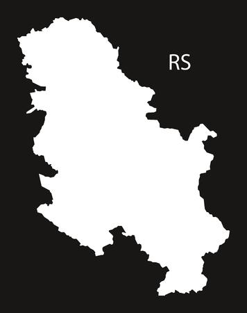 black and white: Serbia Map black white