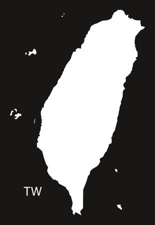 black and white: Taiwan Map black white