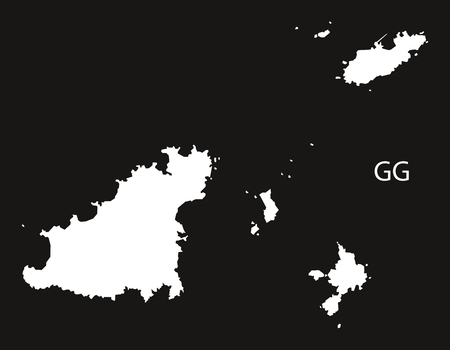 black and white: Guernsey Map black white