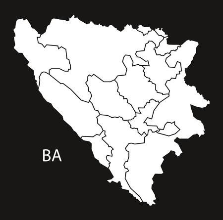 bosnia hercegovina: Bosnia Herzegovina regions Map black white