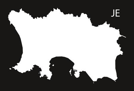 jersey city: Jersey Map black white Illustration