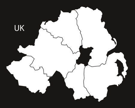 counties: Northern Ireland counties Map black white
