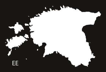 black and white: Estonia Map black white Illustration