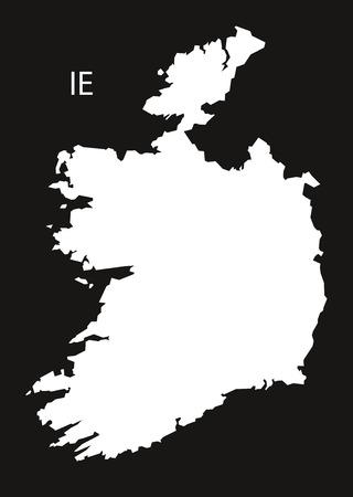black and white: Ireland Map black white