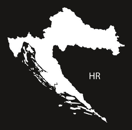 black and white: Croatia Map black white