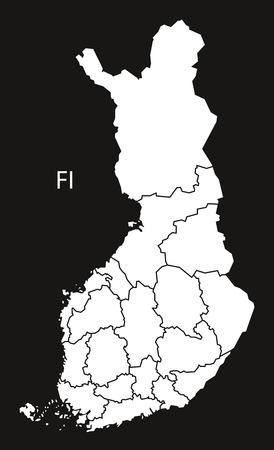 Finland regions Map black white