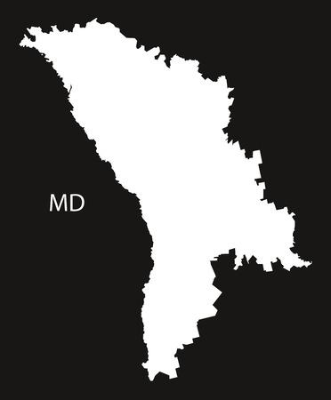 black and white: Moldova Map black white