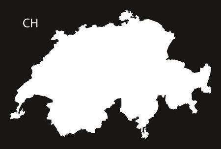black and white: Switzerland Map black white