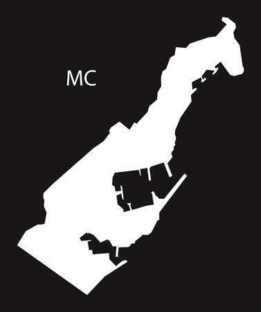 black and white: Monaco Map black white Illustration