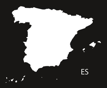 black and white: Spain Map black white Illustration