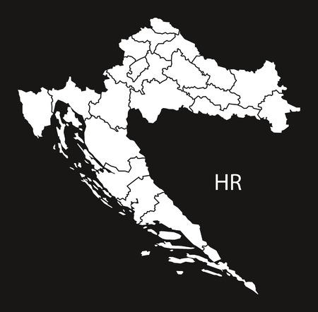 counties: Croatia counties Map black white