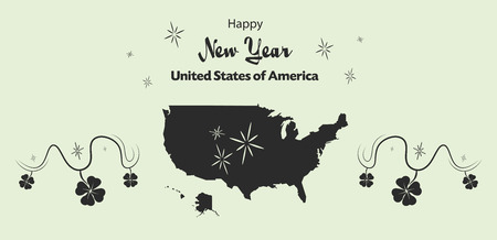 cloverleaf: Happy New Year illustration theme with map of the USA