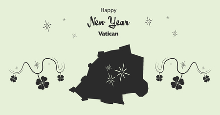 cloverleaf: Happy New Year illustration theme with map of Vatican City