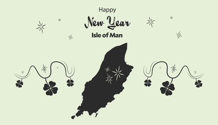 cloverleaf: Happy New Year illustration theme with map of Isle of Man