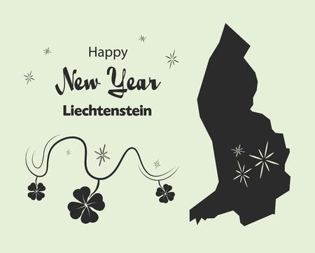 liechtenstein: Happy New Year illustration theme with map of Liechtenstein