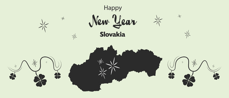 cloverleaf: Happy New Year illustration theme with map of Slovakia