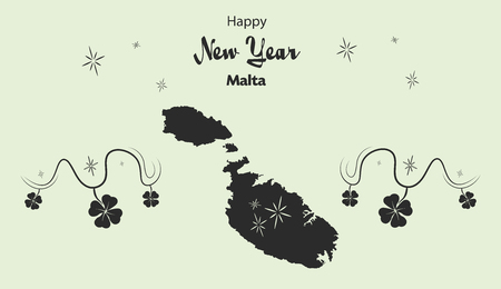 map malta: Happy New Year illustration theme with map of Malta