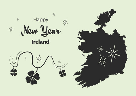 cloverleaf: Happy New Year illustration theme with map of Ireland Illustration
