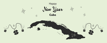 cloverleaf: Happy New Year illustration theme with map of Cuba Illustration
