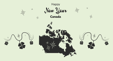 cloverleaf: Happy New Year illustration theme with map of Canada