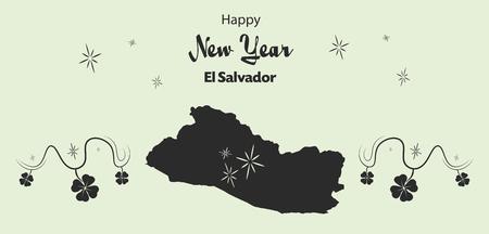mapa de el salvador: ilustración del tema de la Feliz Año Nuevo con el mapa de El Salvador