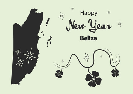 cloverleaf: Happy New Year illustration theme with map of Belize